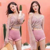 長袖泳衣 泳衣女ins風三件套保守韓國沙灘罩衫超仙學生網紅款長袖遮肚顯瘦 小宅女