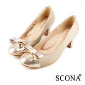 SCONA 全真皮 典雅舒適晶鑽跟鞋 卡其色 9935-2