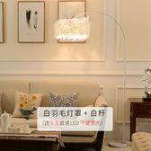 落地燈羽毛燈客廳宜家釣魚燈創意簡約現代ins北歐LED臥室羽毛臺燈