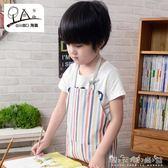 兒童圍裙畫畫衣淘喜韓版時尚男女寶寶吃飯繪畫美術圍兜罩衣 晴天時尚館