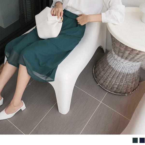 《BA3465-》褲頭造型後鬆緊打褶七分雪紡寬褲.2色 OB嚴選