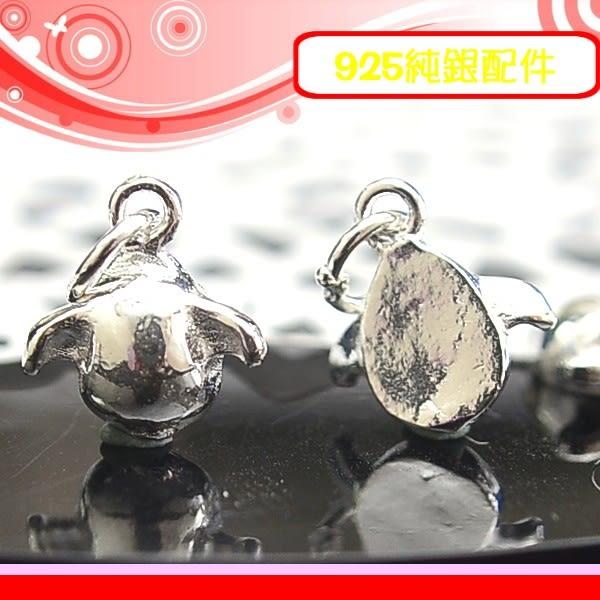銀鏡DIY S925純銀材料配件~可愛天使之卵/天使蛋吊墜-中款(實心)/適合手作串珠/蠶絲蠟線/幸運繩