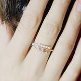 戒指 925純銀 鑲鑽-環繞珍珠生日情人節禮物女開口戒3色73dv1[時尚巴黎]