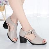 魚口鞋 魚嘴中跟涼鞋女2021新款羅馬女士粗跟鞋中年媽媽女鞋 風尚