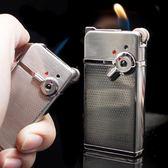 優惠快速出貨-雙火切換直沖明火打火機防風定制金屬男士電子砂輪點煙器