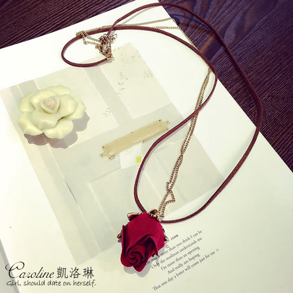 《Caroline》★韓風優雅時尚品味典雅設計玫瑰花項鍊68827