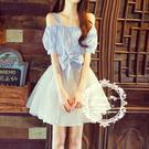 一字領洋裝 女孩子少女裝初中學生雪紡長裙連衣裙18歲
