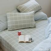 床包組 / 加大 [大格綠] 長絨棉麻混織;自然無印;簡約設計;翔仔居家;台灣製