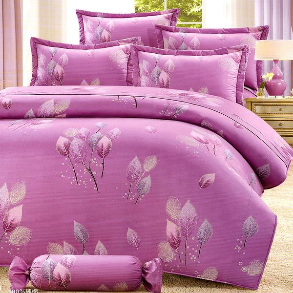 【貝淇小舖】 微笑MIT【6906紫】精梳棉單人鋪棉床罩五件組~