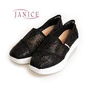 JANICE-清新線條增高懶人鞋352004-02(黑)