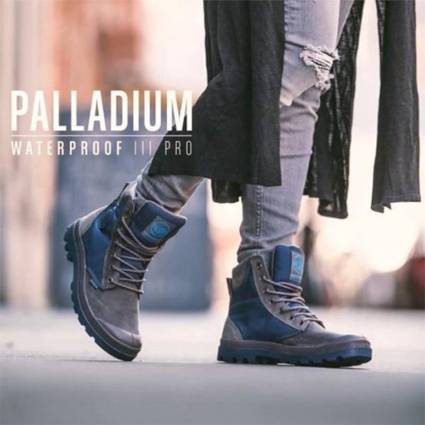 【南紡購物中心】【PALLADIUM】PAMPA SPORT CUFF WPN 防水牛巴戈拼接軍靴 / 藍 男女鞋