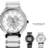 Valentino范倫鐵諾 幸運草水鑽精密陶瓷不鏽鋼手錶腕錶 原廠公司貨【NE1315】單支
