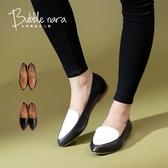 兩個女孩撞色尖頭鞋。Bubble Nara波波娜拉。通勤平底鞋,寬腳舒適鞋版NA370-10