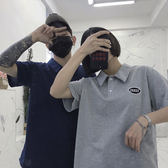 Korea studios. 19韓國同款復古刺繡字母Polo翻領短袖T恤 男女款 美芭