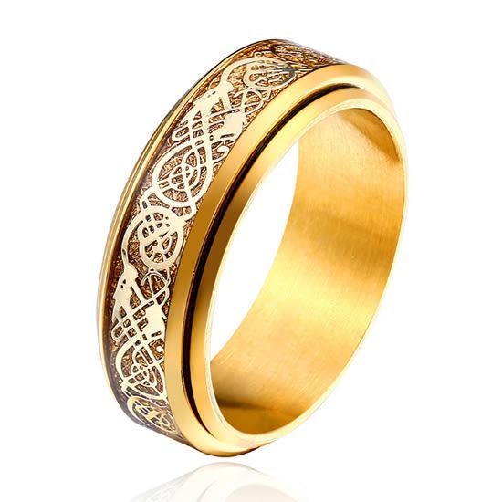《 QBOX 》FASHION 飾品【RBR-R079】精緻個性雕刻龍紋財運轉鈦鋼戒指/戒環(三色)