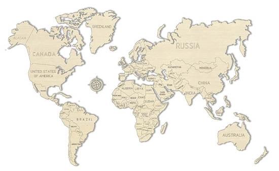 WOODEN.CITY 世界地圖L WORLD MAP M號