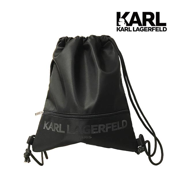 (學生必買) Karl Lagerfeld 卡爾 老佛爺包包 KARL LOGO尼龍束口背袋-黑 (原廠公司貨)