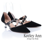 2019春夏_Keeley Ann慵懶盛夏 真皮金屬鉚釘細跟尖頭包鞋(黑色) -Ann系列
