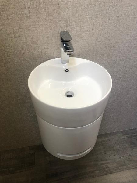 *人氣推薦。小資必買!衛浴設備 寬41cm圓盆+短櫃(無收納功能) 下開孔可掛毛巾 附水龍頭及配件