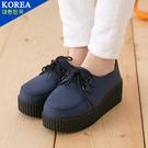 女款 韓國元素繫帶經典休閒 厚底鞋 鬆糕鞋 藍色 59鞋廊