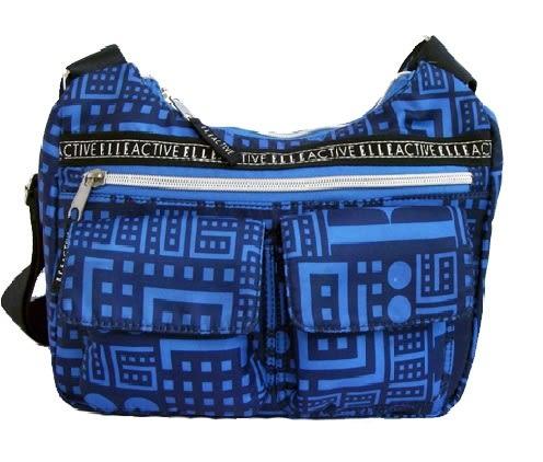 Backbager 背包族 【ELLE Active】Back to school系列 切割塗鴉現代視覺 復古風 斜背包/側背包 藍色
