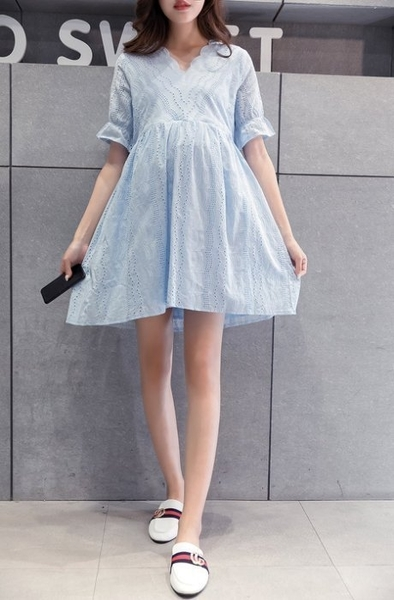 漂亮小媽咪 短袖洋裝 【D2028】 布蕾絲 泡泡 短袖 孕婦裙 孕婦裝 娃娃裝
