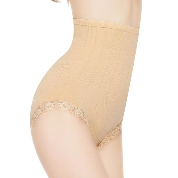 收腹內褲 提臀內褲 無縫高腰微收腹暖宮記憶蕾絲塑身內褲女士胖MM產後美體塑身褲《小師妹》yf1224