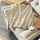 秋冬新款羊絨V領開衫百搭短款針織毛衣外套(四色/五碼可選)