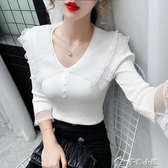 針織上衣女米貝婭秋裝新款蕾絲花邊拼接v領針織衫女修身顯瘦七分袖上衣 快速出貨