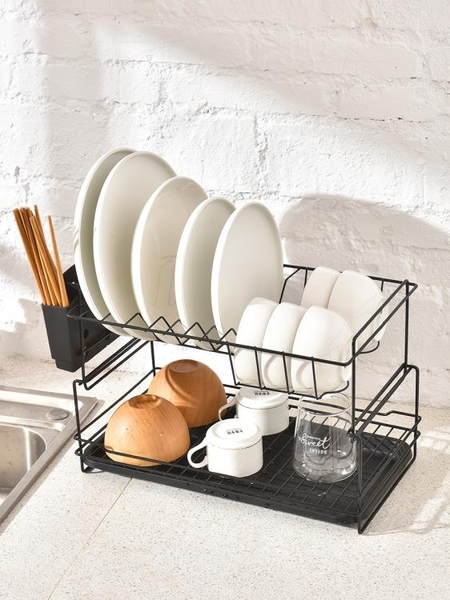 瀝水架 碗碟架瀝水架雙層廚房用品碗盤餐具置物架家用放碗筷收納盒瀝碗架 「雙10特惠」