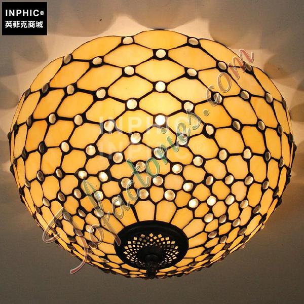 INPHIC-歐式復古臥室門廳餐廳陽臺飄窗玻璃燈罩奢華珠子吸頂燈_S2626C