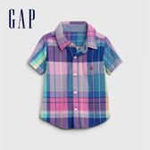 Gap 男嬰 活力撞色格紋短袖襯衫 577219-雨藍
