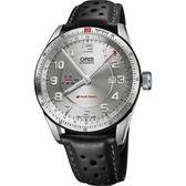 ORIS 豪利時 Audi Sport GMT 賽車聯名錶-銀x黑44mm 0174777014461-0752287FCS