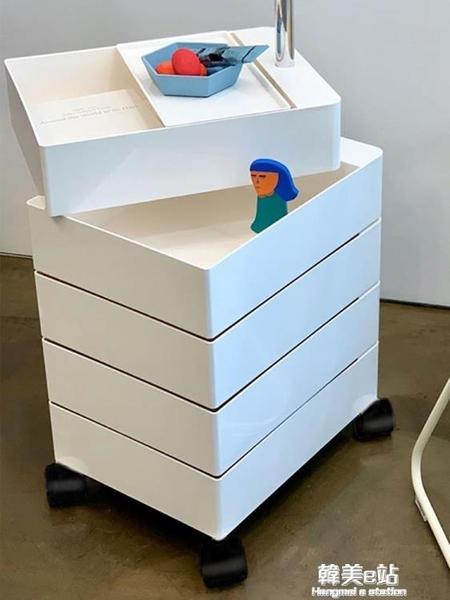 360旋轉櫃子可行動床頭櫃ins沙發邊櫃儲物櫃簡約抽屜化妝品收納櫃ATF 韓美e站