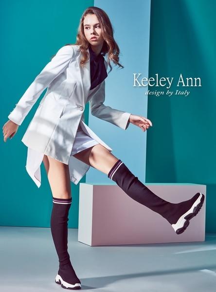 ★2018秋冬★Keeley Ann獨特魅力~英文字樣彈性襪套式短靴(灰色) -Ann系列