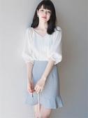 2020夏季新款法國小眾很仙的網紅套裝裙子顯瘦氣質兩件套名媛套裝
