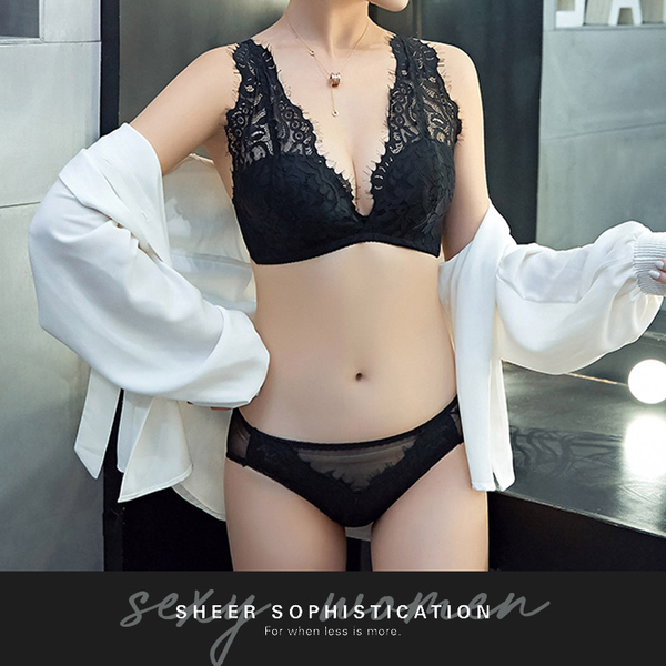 現貨◆PUFII-內衣褲組 深V雙肩帶蕾絲內衣褲組-0725 夏【CP17107】