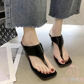 人字拖女夏季時尚百搭細跟方頭高跟涼拖鞋【少女顏究院】