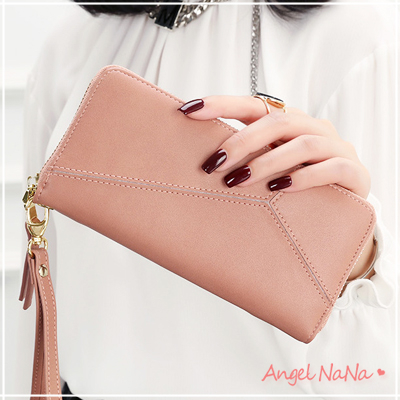 (促銷中)熱賣高質感韓系皮夾純色幾何拼接女長夾(都有現貨)手拿包附手腕帶 (SMA0216)