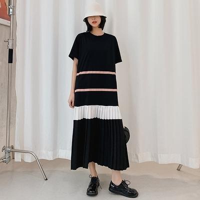 胖妹大碼洋裝連身裙~9018# 2020/長款大碼女裝拼接壓褶短袖連身裙DC109愛尚布衣