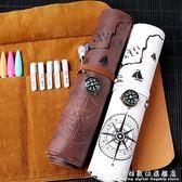 筆袋藏寶圖文具盒初中學生復古簡約多功能彩鉛捲 韓國高中生男女孩筆 科炫數位
