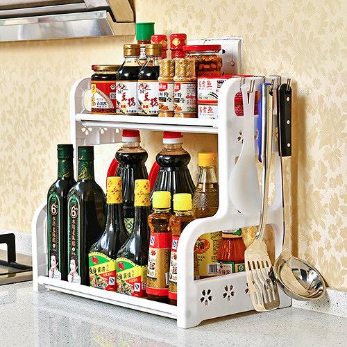 (限宅配)櫻花鏤空加厚雙層廚房置物架 廚房收納 組合式置物架