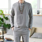 中國風唐裝立領中式盤扣刺繡亞麻漢服棉麻上衣褲子禪服套裝男大碼 店慶