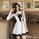 小香風裙子女秋裝新款韓版氣質修身撞色蝴蝶結長袖針織連身裙 范思蓮恩