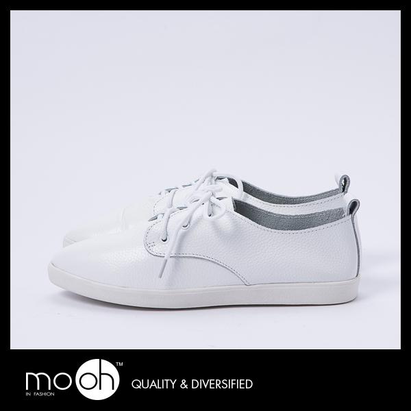 韓國真皮尖頭綁帶小白鞋 百搭白色休閒鞋運動鞋 mo.oh (韓國鞋款)