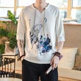夏中國風男裝唐裝亞麻T恤男短袖寬鬆大碼上衣棉麻休閒中袖半截袖