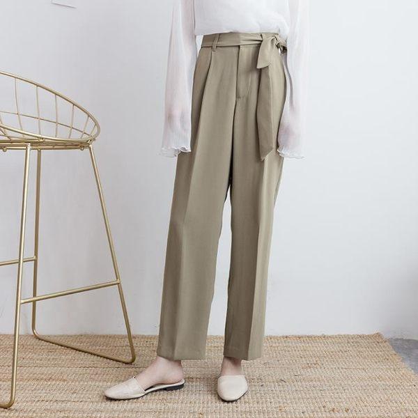 【新年鉅惠】復古簡約氣質純色高腰系帶闊腿褲長褲休閒褲