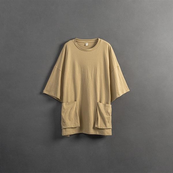 Queen Shop【01038770】大口袋設計短袖柔棉上衣 兩色售 1/2/3*現+預*
