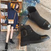 新款英倫風百搭復古馬丁靴女圓頭女鞋學生平底短靴女·蒂小屋