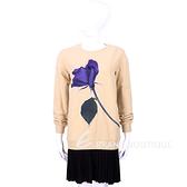 SPORTMAX 紫花朵設計百摺拼接洋裝(駝/黑色) 1440170-02